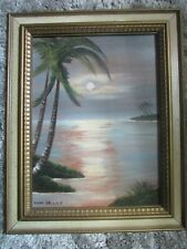 LOCKE WALLACE Original Framed Painting Moon over water with Palm Trees