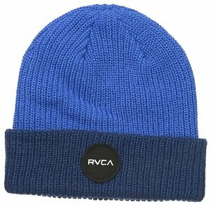 NWT RVCA Midnighter Beanie Two Color Weave Blue RVCA Motors Patch One Size Hat
