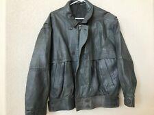 Mens Gray Leather Bomber Style Jacket Euro Size 50