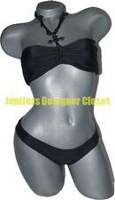 NWT LE DOUX bikini swimsuit S black ruffled rhinestone cross celebrity designer