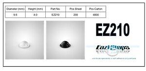 9.5mm x 4.0mm RUBBER BUMPER FEET Sticky Bumpons Polyurethane Clear Black EZ210