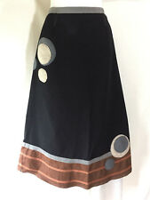 Neesh by D.A.R. Shapely Mid Calf Black Brown Cotton Felted Circles Skirt Medium