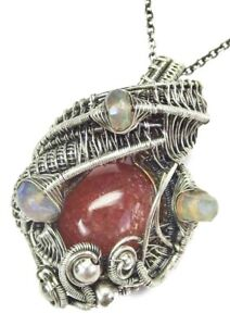Oregon Sunstone Wire-Wrapped Necklace with Ethiopian Opals in Sterling Silver