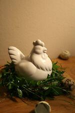 Huhn Dekohuhn Henne weiß Keramik Dekohenne Tischdeko Kommunion Ostern Frühling