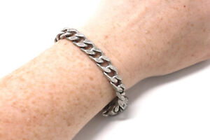 A Chunky Heavy Vintage Sterling Silver 925 Curb Link Chain Bracelet 33g #33594