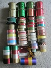 """Huge Mixed Lot Of 55 Spools Of Ribbon - Multi Color / Pattern 1/8"""" - 1.5"""" Wide"""