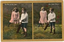 CRICKET Children Clean Bowled DUCK Tears Colour PC Aldeburgh to Sandringham 1908