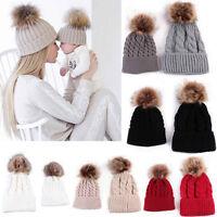 2PSC Mom&Newborn Baby Boy Girl Winter Knitted Beanie Ski Hat Faux Fur Bobble Pom
