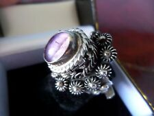 Vintage Amethyst Taxco Sterling Silver 925 Poison Pill Box Adjustable Ring