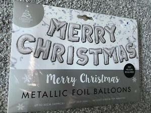 Silver Merry Christmas balloon banner Garland Christmas Decoration