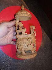 Sculpture Hindou Eléphant attaqué Par Tigre  Palanquin & Cornak Inde ? Ceylan ?