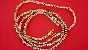 "13.50 Carats Bling One Row Diamond Tennis Chain 26"" Sparkling 10k Gold Video"