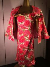 Floral Roses Garden Party Dress & Jacket Pink & Green size 10 Noviello-Bloom