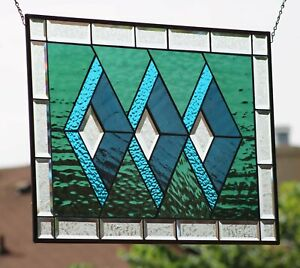 """""""Immersed """"Beveled Stained Glass Window Panel ≈ 28 1/2"""" x 19 1/2"""""""