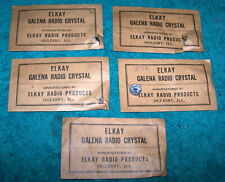 FOUR 1920's GALENA Crystals in Original ELKAY BRAND NEW Old STOCK  Packages