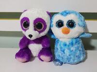 TY BEANIES TY BEANIE BOOS BOOM BOOM PURPLE PANDA BLUE OWL