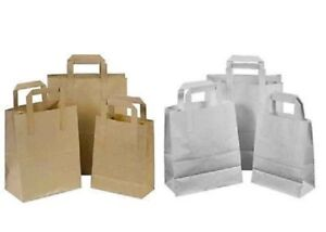 BROWN & WHITE SOS Takeaway Brown Kraft Paper Carrier Bags + Handles Party Gifts