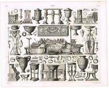 ORIGINAL ANTIQUE PRINT VINTAGE 1851 ENGRAVING ROMAN ROME FURNITURE AND TOOLS