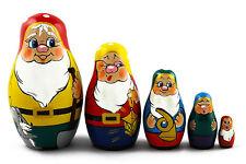 Matryoshka Russian Nesting Doll Babushka Matresca Matrioshka Dwarfs Gnomes 5 Pc