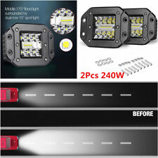 2pc 240W 5IN LED Cube Pods Light Flush Mount Fog Lamps Combo Driving 4WD Truck