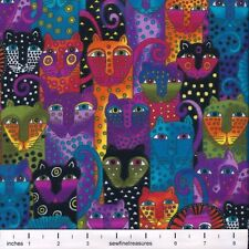 FLANNEL Laurel Burch Wild Ones CAT FACES Cheetah Multi Fabric By the FQ - 1/4 YD