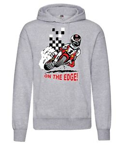 On the Edge motorcycle biker racing grey hoodie pullover with kangaroo pouch