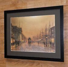 Greenock by Lamplight, J A Grimshaw print, 20''x16'', framed. classic wall art