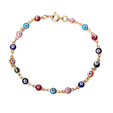 "Retro 18K Gold Plated Multicolor Evil Eye Link Chain Bracelet Bangle 20cm 7.87"""