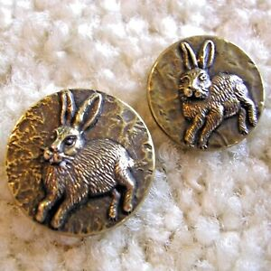 Ex Scarce Vintage Pair of alert RABBIT buttons, early 1900s/1930s