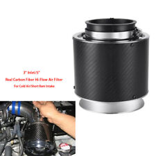 "3"" Inlet 5"" Height Carbon Fiber Hi-Flow Air Filter Cold Air Short Ram Intake Set"