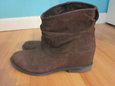 Aldo Women Brown Leather Slouchy Ankle Low Heel Boots BOOTIES Size 8 38.5 UK 5.5