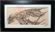 Xenomorph Alien Queen HR Giger Framed Art Print Signed by Artist Chris Oz Fulton