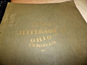 VTG REPRODUCTION ATLAS MAP BOOK 1871 JEFFERSON OHIO F.W. BEERS & CO. + INDEX