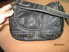 Very Soft Chaps Black Leather Medium Sized Purse with Great Stitching