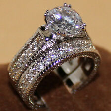 Size 7 Handmade Eternity 925 Silver White Sapphire 2-in-1 Wedding Band Ring Set