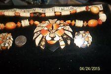 Vintage Lee Sands Lion Apple Coral and Tigar Sponge Lion Head Necklace earrings