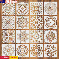 16 pcs/Set Reusable Stencil Cut Mandala Painting Template Floor Wall Tile Paint
