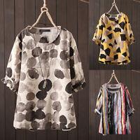 ZANZEA 10-24 Women Summer Retro Stripe Geometric Polka Dot Top Tee Shirt Blouse