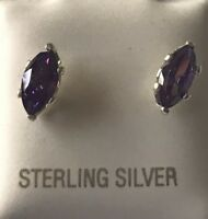 Free Shipping Natural Amethyst Marquise Cut Stud Earrings 6mm