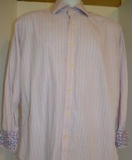 Tailorbyrd Men's Shirt Large L Flip Cuff Oxford Long Sleeve Pink Striped Floral
