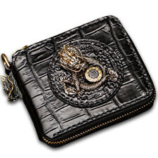 Handmade Men Genuine Crocodile Leather Clutch Wrist Chain Wallets Purse Handbag