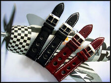 20mm Black Rally GT3 Sport Racing Oily leather watch band strap IW SUISSE 18 22