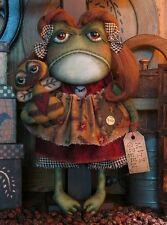 PATTERN Primitive Whimsical Folk Art Odd Frog Raggedy Doll FREE SHIPPING TBP