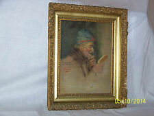 """Rare"" Alpenore Gobbi Antique Original Oil On Panel Side Portrait Painting"