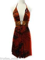 e203c9fd418 NWT SKY Brand Komiti Peacock Feather Print Belt Sexy Clubbing Mini Red Dress