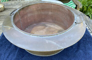 Large Antique Brass/copper Bowl With Handles