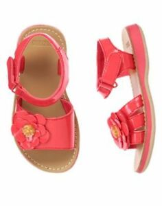 NWT GYMBOREE Butterfly Catcher Coral Flower Gummy Sandals Shoes SZ 7