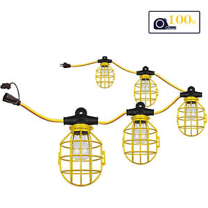 Construction Lights, Work, String, Construction, Temporary, 100 Foot String with