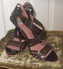 """New Zara Brown Patent Leather Buckle Closure 4"""" Heel Women's Shoes"""