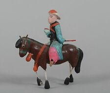 Antique Chinese Figurine Man with Horse on Horseback Riding